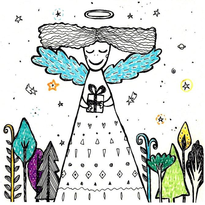 Авторская открытка от Аси Масловой Ангел