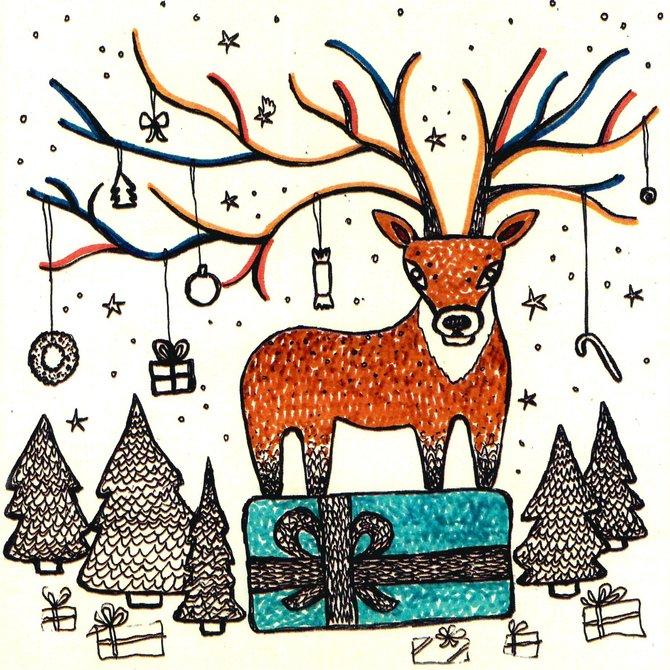 Авторская открытка от Аси Масловой Олень