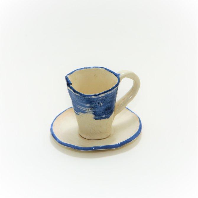 Чашка с блюдцем бело-синяя