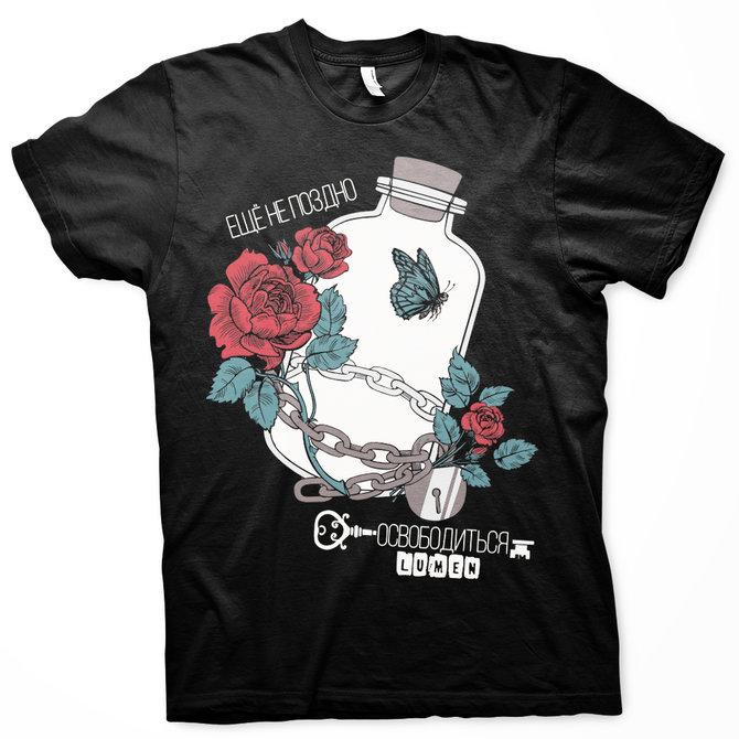 Lumen: черная футболка «Ещё непоздно освободиться»