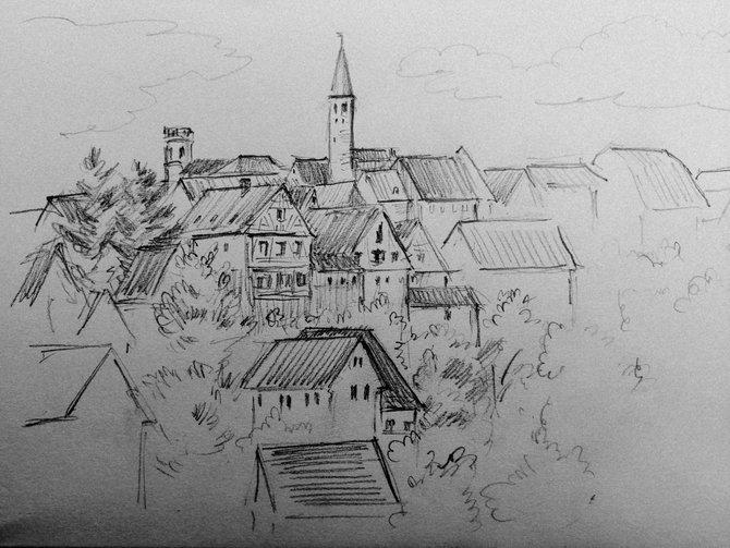 Это Кирхберг, место рождения главного героя книги Августа Шлёцера. Рисунок мой